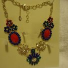 "'STUNNING"" NEW AMRITA SINGH GP AUSTRIAN CRYSTAL RESIN FLORAL BELL NECKLACE"