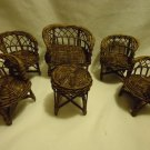 BROWN WICKER DOLL SIZE FURNITURE.....SIX PIECES, 4 CHAIRS, LOVESEAT, & TABLE