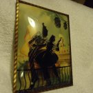 """ONE LARGE  8"""" x 6"""" Convex Glass Silhouette Picture Reverse Painted Wall"""