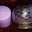 STUNNING ETCHED GLASS DECORATIVE LILAC CANDLE HOLDER WITH NEW CANDLE..UNIQUE
