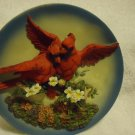 "RED BIRD/CARDINAL SCULPTURED 3-D PLATE..8"" DIAMETER....VERY NICE"