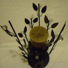 "STUNNING METALLIC LEAF & ACCENT CENTERPIECE CANDLE HOLDER-BLACK..APPROX 12"" TALL"