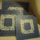 BEAUTIFUL SET OF 3 TEMPERED GLASS TRIVETS...BLUE SWIRL PATTERN...DIFF SIZES