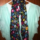 "LADIES/GIRLS PEACE SIGN & FLORAL LIGHTWEIGHT SCARF...LARGE...63"" X 13.8"