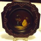 "BEAUTIFUL MOLDED WOODLIKE 13"" PLATE WITH FRUIT IN CENTER FOR ACCENT/STAND"