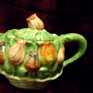 "BEAUTIFUL CERAMIC TEAPOT WITH TULIPS..HANDCRATED IN THAILAND..7"" X 9"""