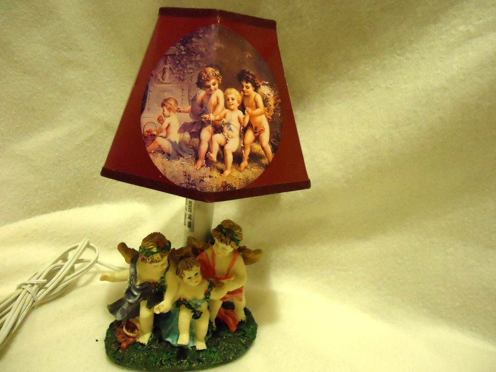 "SMALL RESIN ANGEL WITH CHERUBS LAMP WITH SHADE....NICE....9"" TALL"