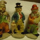 THREE VINTAGE PORCELAIN CLOWNS...TAIWAN...COLORFUL AND CHARMING..