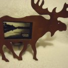 "PRIMITIVE RUSTY MOOSE PICTURE PHOTO FRAME.....APPROX 9"" X 8""....METALLIC"