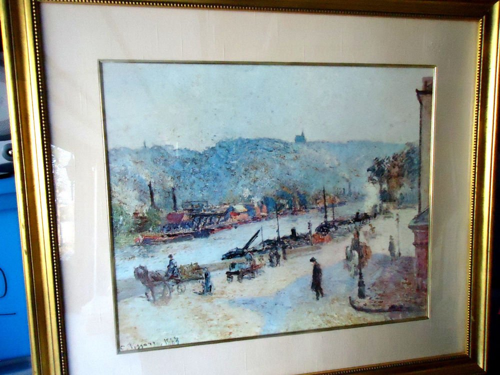 "GOLD FRAME & MATTED ART PRINT BY CAMILLE PISSARRO ""QUAYS AT ROUEN"" 30 X 34"