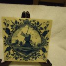 VINTAGE DUTCH DELFT BLUE BLAUW HANDPAINTED WINDMILL TILE/HOLLAND..TRIVET HANGING