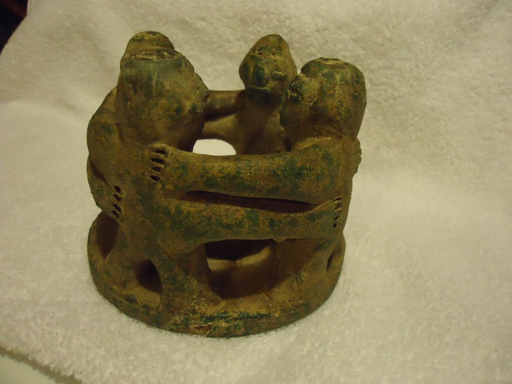 CIRCLE OF FRIENDS CANDLE HOLDER MEXICAN POTTERY..TAG ATTACHED TO EXPLAIN