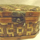 SMALL WOODEN/METAL WOVEN TRINKET/STORAGE BOX....NICE HARDWARE...