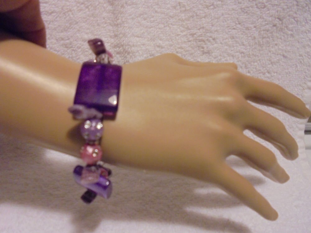 DECORATIVE PURPLES MIXED COLORS  BEADED EXPANDABLE/STRETCH BRACELETS
