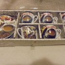 SET OF 6 WHITE/BROWN DEMITASSE ESPRESSO CUPS & SAUCERS...IN BOX