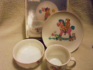 "3 PC STONEWARE CHILD'S SERVING SET ""ROCKY HORSE"" 7 1/4"" PLATE, BOWL, & CUP"