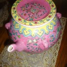 UNIQUE PINK/FLORA CHINESE ART POTTERY KENDI/GINGER JAR/POT--FAMILLE ROSE VASE...