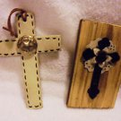 "SET OF 2 CROSSES...1 WOOD & 1 LEATHER....UNIQUE....6"" & 5 1/2""....HANDMADE"