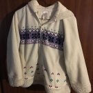EUC White W/Multicolor Design Zip up Hoodie Hooded Jacket M 7/8