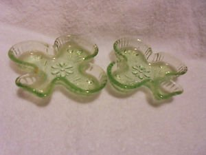 SET OF 2 CHANTILLY TIARA GREEN ASHTRAY CLUB BY INDIANA GLASS
