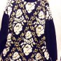 PRETTY BLACK, WHITE & GOLD FLOWER SWEATER..PLUS SIZE...20W/40..CHEERFUL/LONG