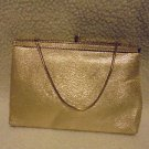 VINTAGE GOLD EVENING PURSE/HANDBAG WITH GOLDTONE GOLD CHAIN....