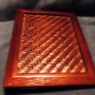 NICE WOODEN WEAVE COVER PHOTO ALBUM...HOLDS 48 4 X 6 PHOTOS....UNIQUE