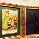 SET OF 2 WOODEN PICTURE FRAMES..1 HAS GUARDIAN PICTURE...4 1/2 X 6 1/2  PICTURES