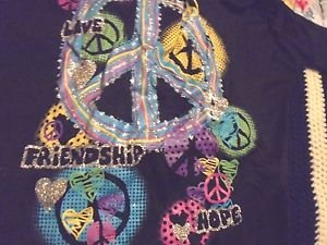 GIRLS SIZE L BLACK PEACE SIGNS & COLORED GLITTER....