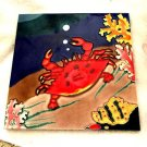 TROPICAL BEACH OCEAN RED CRAB CERAMIC TILE-COLORFUL-SIZE  APPROX 7 3/4 X 7 3/4