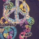 SIZE XL GIRL'S BLACK PEACE SIGNS & COLORED GLITTER....