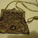 "VINTAGE LOOK ""CHRISTIANA"" HANDBEADED GOLDTONE BAG/CLUTCH..BEADED HANDLE.INDIA"
