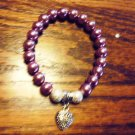 PURPLE LADIES BEADED BRACELET WITH HEART CHARM -EXPANDABLE