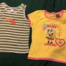 Girls Gymboree 9 Strip & 10/12 Nickelodeons Sponge Bob Square Pants Shirt