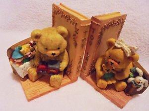 VINTAGE TOYLAND BEAR BOOK ENDS BY ARTMARK...SO PRETTY.......B-98