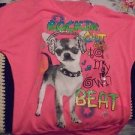 "GIRLS SIZE M NEON PINK SHIRT ""ROCKIN ON"" DOG WITH HEADPHONES & GLITTER...."