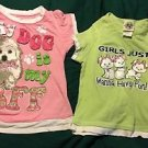 Girls Green Common Thread Short Sleeve Shirt Medium &Humane Society Pink Shirt