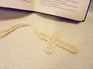 "CROCHETED 4"" CROSS BOOKMARKS...BEIGE...LONG TASSEL(5"") GREAT GIFTS & HAPPIES"