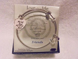 "SILVER BANGLE ""LOVE THIS LIFE"" CHARM BRACELET..STILL IN BOX....EXPANDABLE"