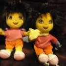 "SET OF TWO DORA PLUSH DOLLS.......8""...ONE WITH BACKPACK & ONE WITH SKATES"