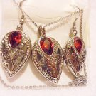"LARGE REDDISH TOPAZ EARRINGS & NECKLACE SET...18""..SILVERPLATED....UNIQUE"