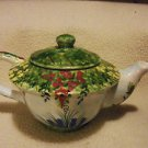 FLOWERS INC/BALLOONS HANDPAINTED FLORAL TEAPOT WITH LID....GREAT COLORING