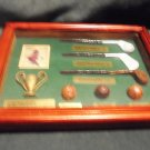 HISTORY OF GOLF SHADOWBOX WITH WOOD FRAME BALLS, CLUBS, ETC...NICE