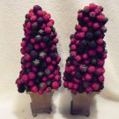 "SET OF 2 CONE SHAPED ARTIFICIAL BERRY FRUIT TOPIARY....APPROX 14"" TALL....."