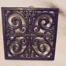 "7"" DECORATIVE BLACK SQUARE CAST IRON TRIVET..FOR COUNTER OR HANGING..  B-101"