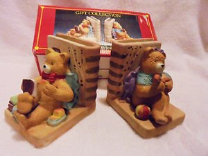 """BEAUTIFUL SET OF BEAR PORCELAIN BOOKENDS...COLORFUL & CHEERFUL....EACH 4"""" X 4"""""""