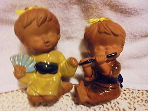 SET OF 2 JAPANESE POTTERY/GLAZED SMALL CHILDREN FIGURINES...SO DETAILED..4 1/2""