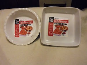 SET OF TWO NEW KITCHENWORKS VITRIFIED  STONEWARE BAKING DISHES..ROUND & SQUARE