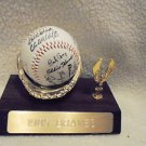 MLB PEN STAMPED 1985 ATLANTA BRAVES TEAM SIGNED BASEBALL WITH NICE WOODEN STAND