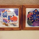 "SET OF 2 ESKIMO CERAMIC TRIVET WALL PLAQUES BY BARBARA LAVELLEE...1995...8"" X 8"""